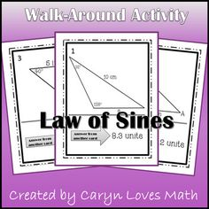 Students practice the Law of Sines to find an angle or a side of the given non-right triangle.  Also included are examples of the Included are 2 version of this activity.-  One with 12 cards for use as a walk-around activity   ** Includes 2 problems that can form 2 triangles and 1 that cannot form a triangle-  A shorter version with only 6 cards great for table work, bell work or use as a review.