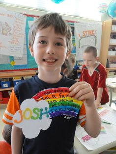 Writer's Workshop: rainbow writing what makes me special. Great blog for writing ideas. Could be easily changed for other grade level.