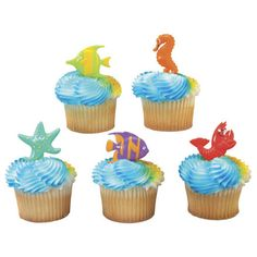 Under the sea animal cake cupcake party picks, sea life cake cupcake pick toppers decor, sea fish cake topper decoration, cake embellishment by on Etsy Beach Theme Cupcakes, Themed Cupcakes, Cupcake Party, Mermaid Cupcakes, Cupcake Birthday, Cupcake Picks, Cupcake Toppers, Cupcake Ideas, Lobster Party