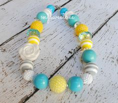 Girls Necklace Yellow Grey Chunky Necklace Bubblegum by mysweetbee