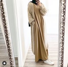 Hijab Style Dress, Modest Fashion Hijab, Modern Hijab Fashion, Hijab Outfit, Muslim Fashion, Fashion Outfits, Hijab Evening Dress, Cardigan En Maille, Gilet Long