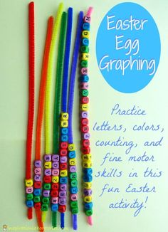 Easter Egg Graphing: Practice letters, colors, counting, and fine motor skills with this fun Easter activity!