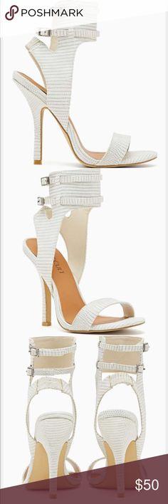 Nasty gal White Snakeskin heel Worn once! True size 10 ! 4 inch heel Nasty Gal Shoes Heels