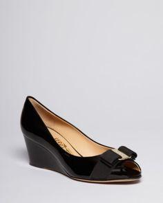 Salvatore Ferragamo Peep Toe Wedge Logo Pumps - Sissi Mid Heel
