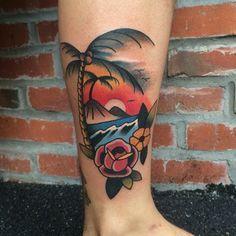 Resultado de imagen para beach tattoo traditional
