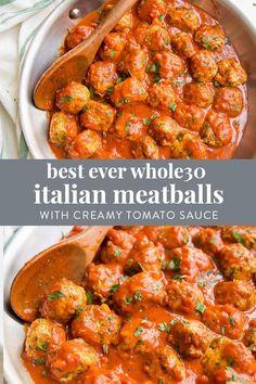 Best Ever Paleo Italian Meatballs with Creamy Tomato Sauce Keto) - 40 . Best Ever Paleo Italian Meatballs with Creamy Tomato Sauce Keto) – 40 … Best Ever Paleo Italian Meatballs with Creamy Tomato Sauce Keto) – 40 Aprons Paleo Menu, Paleo Cookbook, Paleo Dinner, Paleo Food, Whole 30 Diet, Paleo Whole 30, Whole 30 Recipes, Whole 30 Meals, Whole 30 Soup
