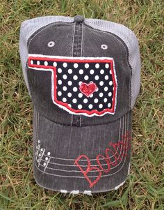 c6b6fa5fbe6 OU Sooners Oklahoma polka dot State Baseball Bling Ladies Womens Trucker Hat  by chasingelly on Etsy