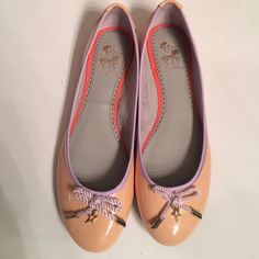 Adorable Sam Edelman Flats Peach colored flats new without tags. Very slight mark under one star as seen in second pic from being on display, easily covered by bow. Purple bows with gold stars. Size 7.5 Sam Edelman Shoes Flats & Loafers
