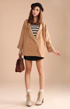 $46.41 Korean lapel double-breasted wool coat - Coat