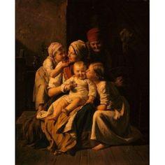 Mother Love by Ferdinand Georg Waldmuller (1793-1865) Canvas Art - Ferdinand Georg Waldmuller (24 x 36)