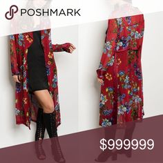 Long sleeve open front chiffon floral cardigan This is some gorgeous Color Pop for your jeans and a T! Gorgeous preview in Burgundy Floral print still going strong for spring 2017. This measures 47 inches long. Bust on a Small is 32 inches. Also has a sash. Can be worn out on the town or as a robe over a white, burgundy, olive or blue nighty. So versatile! 100% Polyester. Sweaters Cardigans