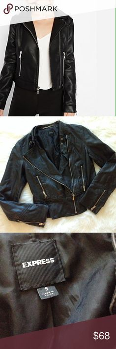 Express faux black leather jacket A style with attitude this is a stunning side zip express faux leather jacket with zipper detailing and a buckle collar. Size small perfect condition Express Jackets & Coats