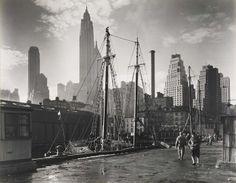 Berenice Abbott Fulton Street Dock, Manhattan Skyline, from the series Changing New York 1935