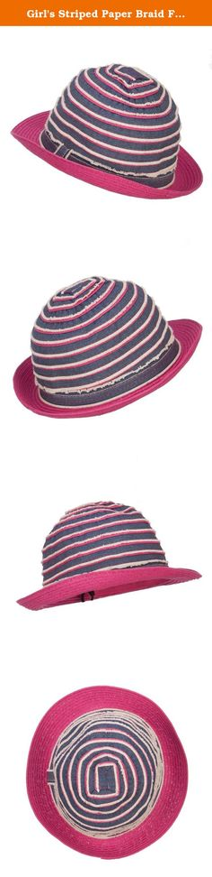Girl's Striped Paper Braid Fedora - Fuchsia Denim OSFM. Stylish and unique fedora for girls. Pinched top crown. Crown is designed in a denim striped pattern. Crown is accented with a denim hat band. Brim is flexible and upturned on one side. Our trendy girls fedora is perfect for vacation trips, parties, tea parties, the beach, and casual wear. Spring and Summer. 8 1/2(W) X 10 1/4(L) X 3 3/4(H) inches. Flexible, light, and durable material. Available in different colors and styles.