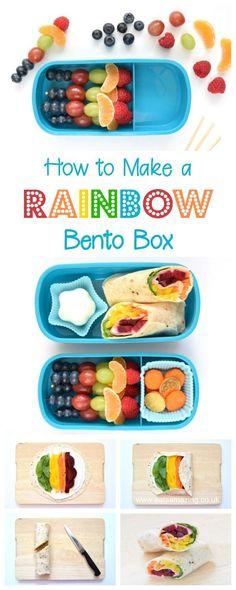How to make a rainbow bento lunch with step by step tutorials and recipes - gorgeous rainbow food ideas for kids from Eats Amazing UK