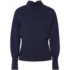 Jacquemus Tie-back wool turtleneck sweater ($475) ❤ liked on Polyvore featuring tops, sweaters, midnight blue, tie sweater, cut-out sweaters, blue turtleneck, open back sweater and ribbed turtleneck sweater
