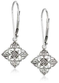 10k White, Yellow or Rose Gold Diamond Lever Back Floral Design Earrings (1/20 cttw, I-J Color, I2-I3 Clarity) >>> Click image for more details.