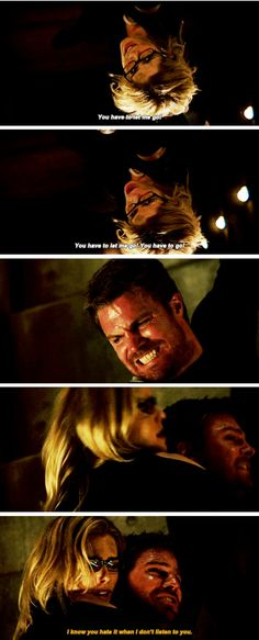 "#Arrow 5x20 ""Underneath"" - ""You have to let me go! You have to go! I know you hate it when I don't listen to you"" - #OliverQueen #FelicitySmoak"