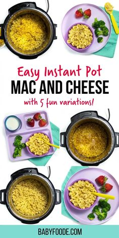 Instant Pot Mac and Cheese: an easy dinner or lunch recipe and healthy way to make your kids' favorite meal. This recipe is fast to make and is delicious for the whole family! Made with just six ingredients it's ready in just 10 minutes! This kid-friendly recipe is a fantastic side dish for an easy weeknight dinner. and ideal for picky eaters! #homemademacandchese #macaroni Baby Puree Recipes, Baby Food Recipes, Baby First Finger Foods, Instant Pot Mac And Cheese Recipe, Baby Led Weaning Breakfast, Mac And Cheese Healthy, Bacon Sausage, Toddler Lunches, Hidden Veggies