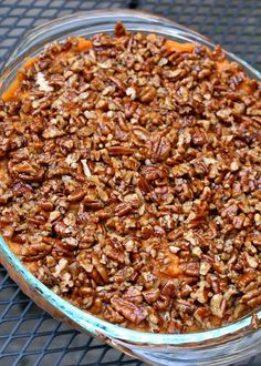 Paleo (and vegan!) Sweet Potato Casserole - Enjoy a sweet potato casserole while you're on the Paleo diet. Perfect for Thanksgiving dinner. Paleo Sweet Potato Casserole, Potato Pie, Potato Recipes, Clean Eating Recipes, Cooking Recipes, Paleo Side Dishes, Whole Food Recipes, Healthy Recipes, Healthy Potluck