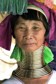 The Kayan women are famous for wearing brass rings around their necks, leading to the illusion of an elongated neck created by the depression of their collarbone.