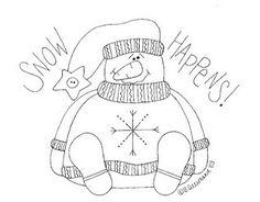 SNOW HAPPENS - Snowman Stitchery Pattern From Sue Allemand of Palette Primitives