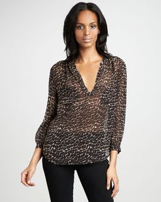 Adana Leopard Printed Top by Joie at Bergdorf Goodman.