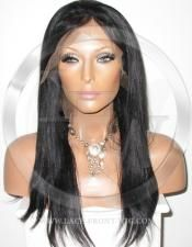 Black Human Hair Full Lace Wig Color Black - 16 Inch