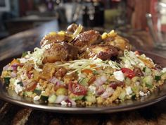 Toasted Couscous Salad Recipe : Guy Fieri : Food Network - Doubled recipe, needed more vinaigrette and feta, less couscous