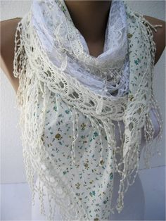 lovely!!  NEWWhite Scarf Elegant scarf  Fashion scarf  scarves by MebaDesign, $19.90