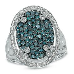 1 CT. T.W. Enhanced Blue and White Diamond Cluster Oval Frame Ring in Sterling Silver