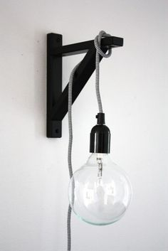 Wall (shelf) bracket, hanging pendant lamp. What a fun idea for a sconce!