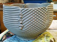 slab constructed bowl from template.