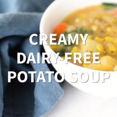 Creamy Dairy Free Potato Soup with Kale - quick and easy, creamy and hearty, dairy free and oil free! Easy Healthy Recipes, Lunch Recipes, Easy Dinner Recipes, Soup Recipes, Whole Food Recipes, Vegan Recipes, Easy Meals, Cooking Recipes, Healthy Soups