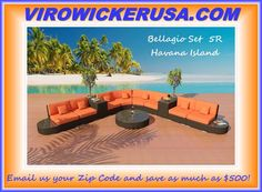 Havana Island Outdoor Wicker Sectional Sofa Antique Java/Tropical Orange