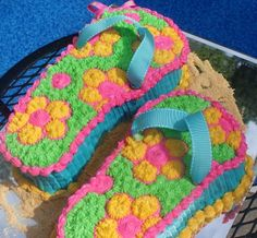 Flip flops and belly flops cake for pool party