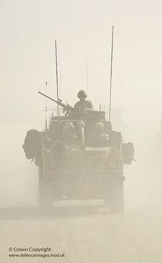 A Jackal armoured vehicle of 3 Commando Brigade, Royal Marines is caught in a sandstorm during Operation Fibonacci near Kuh-e Baba and Shin Ghar, Helmand, Afghanistan.