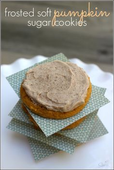 Soft, chewy Pumpkin Sugar Cookies topped with a Pumpkin Spiced Buttercream, fall has a whole new meaning.