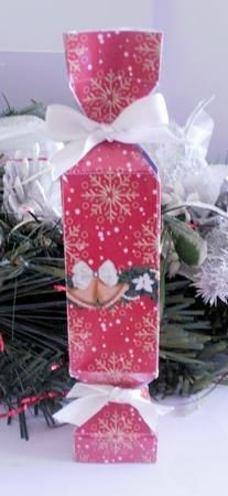 Christmas Cracker Template on Craftsuprint designed by Alison Sulley - made by Jayne Smith - I brought the template into PSP, filled it with my own image and added a Christmas swag for decoration. I then printed it out onto glossy photo paper, scored and cut where indicated then assembled the cracker using glue to secure the tabs. As suggested I used a ribbon to tie the two ends together. This is very easy to construct and would be a great gift for anyone to receive. - Now available for ...