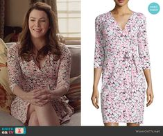 Lorelai's daisy print wrap dress on Gilmore Girls: A Year in the Life.  Outfit Details: https://wornontv.net/62635/ #GilmoreGirls