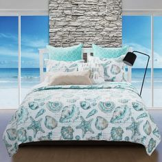 Beach Coastal Tropical Ocean Seashell Starfish Aqua Blue White Quilt Bedding Set #GHF #Tropical White Quilt Bedding, Aqua Quilt, Coverlet Bedding, Coastal Quilts, Beach Bedspreads, Beach Quilt, Striped Quilt, King Bedding Sets, Quilt Sets