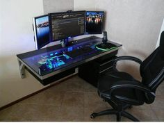 PC in a desk! Looks so sweet, Drool.