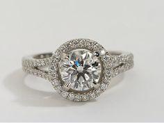@mrslhuillier Split Shank Halo Diamond Engagement Ring in Platinum | #Wedding #BlueNile