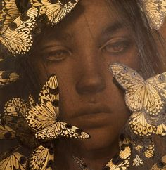 Alessandra Maria, Reverie IV - Contemporary Drawing with Gold Leaf, 2019 Gold Leaf Art, Gold Art, Psychedelic Drawings, Butterfly Drawing, Principles Of Art, Guache, Watercolor Paintings, Gold Leaf Paintings, Illustration Art