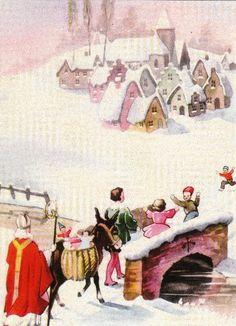 Vintage Postcard....Sinterklaas op the brug in de sneeww