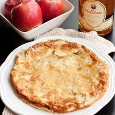Calvados Omelette: Beautiful golden omelette with Calvados soaked apples. (Gluten and Grain-Free)