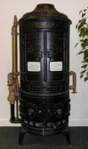 Antique water heater....back when they made appliances like art.
