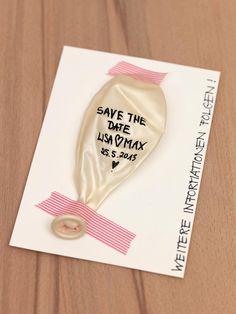 Save-the-Date-Idee zum Selber machen mit beschriftetem Luftballon bei www.weddingstyle.de