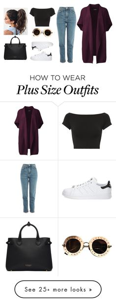 """W o r k"" by i-m-penguin-purple974 on Polyvore featuring Lands' End, Helmut Lang, Topshop, adidas, Gucci, Burberry, class, Guess and plus size clothing"