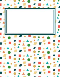 Free printable shapes binder cover template. Download the cover in JPG or PDF format at http://bindercovers.net/download/shapes-binder-cover/